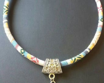 Choker ethnic Dolphin textile necklace