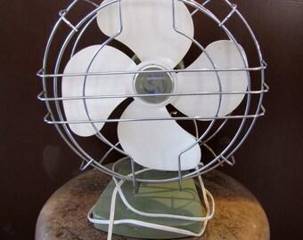 Superior Electric Tabletop Fan, Green and White Fan, Vintage Fan, Industrial Vintage Fan, Home Decor