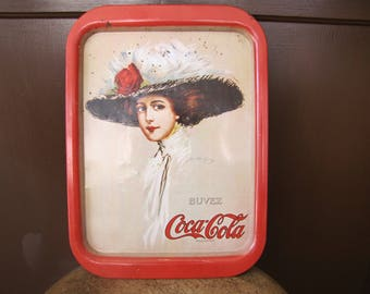 Vintage Coke Tray, Coca Cola Tray, Buvez Coco-Cola, Lady Coke Tray, Memorabilia, Serving Tray, Vintage French Coke Tray
