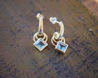 14 Karat Yellow Gold Blue Topaz Gemstone Earrings, Used Vintage