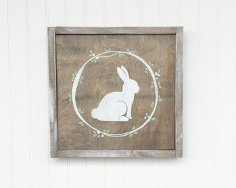 Handmade Rabbit Bunny Easter Wood Sign - Rustic Decor Farmhouse Decor Hand Painted Stained Gift under 50 Wood Art Wooden Sign