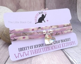 Liberty Lilac Print Bracelet, Liberty Of London, Flower Print Bracelet, Liberty Print, Floral Print, Wrap Bracelet, Gift For Her, For Mum