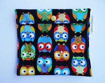 Snack bag - Medium - colorful owls - reusable - Zero waste