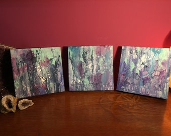 "3 x Original Paintings ""Squiggles"" - Acrylic on Deep Edge Canvas 20 cm x 20 cm"