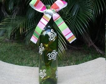 Sea Turtle Wine Bottle Light, Wine Bottle Lantern, Wine Bottle Luminary, Turtle Night Light, Ocean Lamp, Beach Light, Pool Bar Light