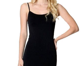 Black Seamless Slip Dress