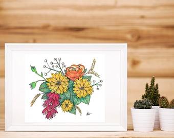 Yellow Daisy Bouquet Print