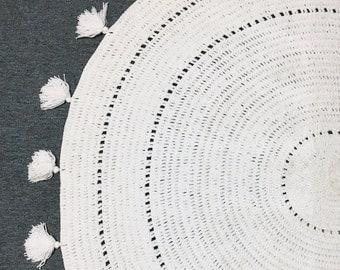 Handmade Crochet Rug, Mandala Rug, Decorative Floor Rug, Crochet Floor Rug,  Round