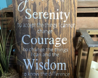 Serenity prayer wood sign/serenity prayer wall decor, inspirational wood sign