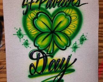 St. Patrick's day tshirt. Green Holiday Clover Four leaf clover heart Irish Celebration