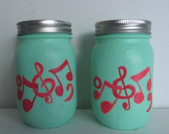 Hand-Painted Pint Mason Jars, Music Themed, set of 2 - Theme/Colors Customizable