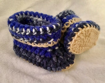 Blue and Cream Crochet Baby Booties
