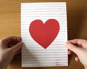 Heart Art Print - Heart Print - Heart Art - Red Heart - Love art - Valentine art - A5 - 6x8 - Red Heart on Stripe Background - Wedding Gift