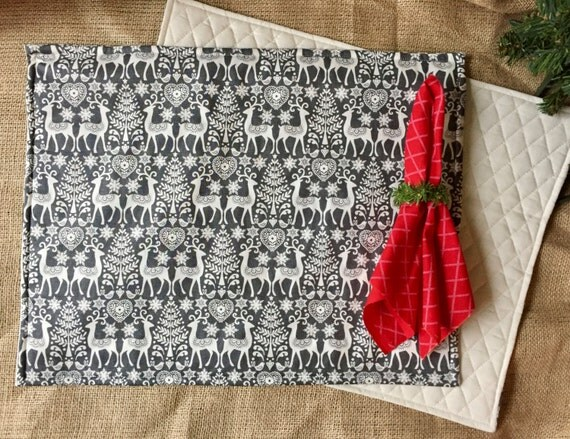 SALE! QUILTED CHRISTMAS Placemats Set of Four, Grey and White Reindeer Print Placemats, Quilted Backing