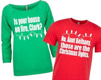 Matching Christmas Shirts. Christmas Sweater. Couple's Christmas Shirts. National Lampoon. Christmas Vacation Shirts. Funny Christmas.