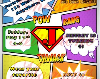 Superhero/Comic Book Invitation