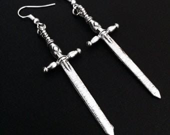Sword Earrings, Sword Jewelry, Gothic Jewelry, Grunge Earrings, Silver Swords, Medieval Swords, Claymore, Long Sword