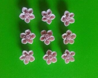 Handmade pink polymer clay rose/flower beads set of 10