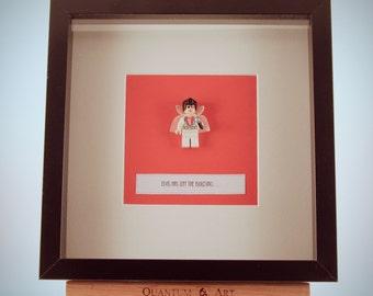 Elvis Presley custom LEGO mini Figure framed picture 25 by 25 cm