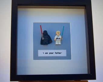 Star Wars Darth Vader & Luke Skywalker mini Figures framed picture 25 by 25 cm