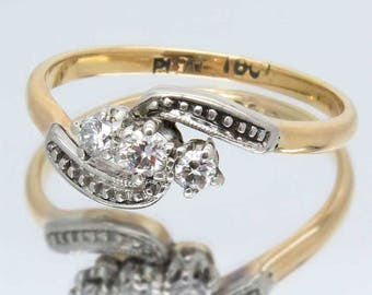 Vintage Three Diamond Trilogy Ring, 18ct Gold & Platinum Crossover / Engagement Ring, Free Worldwide Shipping