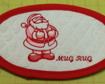 SANTA CLAUS!! An Extra Large Embroidered Quilted Coaster, handmade from Cotton Double Diamond Quilting & Embroidery. Great Stocking Stuffer