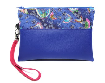 imitation leather evening clutch and Japanese fabric with removable strap