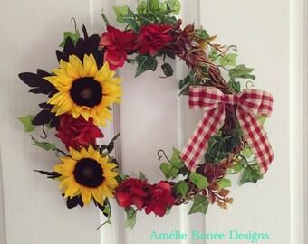 Sunflower wreath with red hydrangeas, rustic autumn / fall decor