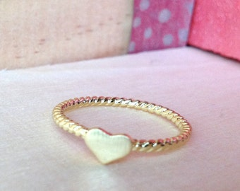 so cute ring ROCK & LOVE with a heart gold plated 18K