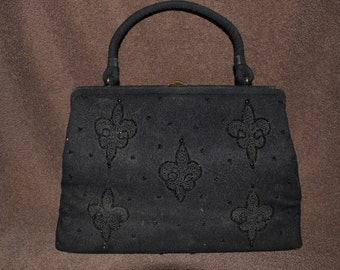 Soure' New York Black Handbag with Black Beads