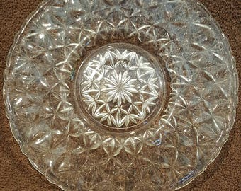 Vintage Crystal Cake Plate, Indiana Glass Cake Platter