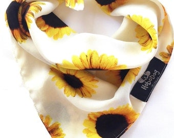 Sunflower Organic Dog Bandana, Summer Dog Bandana, Tie on Dog Bandana