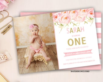 floral first birthday invitation, pink and gold party invite, girl first birthday invitation, floral birthday invite, 1st 2nd 3rd any age