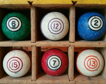 Vintage Clay Billiard Double Circle or Bullseye Decorative Pool Balls  choose your favorite color or lucky number to embrace and showcase