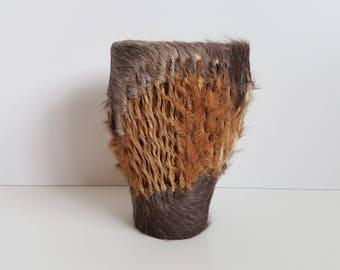 Vintage African Handmade Shaker Drum, Animal Hide, Goat Skin