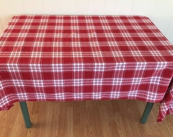 Red Plaid Tablecloth Etsy