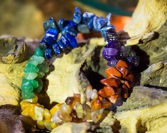 Rainbow Chakra Braided Crystal Chip Bracelet