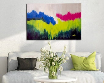 Floral meadow - Large Original Abstract Painting, Modern Art Canvas, Original Acrylic Painting, Wall Art Decor
