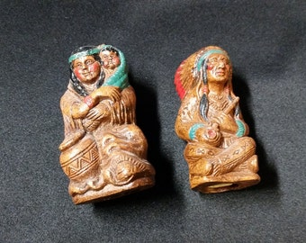 Wooden Indian Salt and Pepper Shakers