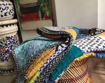 Beautiful Patchwork Handmade King Size Quilt 100% cotton-Reversible-Multipurpose-Ready to ship modern cotton quilts kantha quilt BDFR51