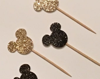 12 Minnie Mouse Cupcake Toppers Glitter Cupcake Toppers Minnie Mouse Birthday Cupcake Toppers Minnie Mouse Baby Shower Cupcake Toppers