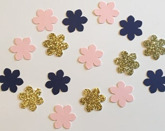 225 Flower Confetti Pink Navy Gold Confetti Glitter Confetti Bridal Shower Confetti Wedding Confetti Anniversary Confetti Pink and Navy
