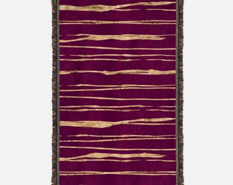 Maroon and Gold Stripes Woven Blanket, Woven Throw with maroon and gold stripes