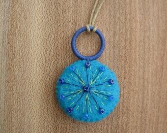 Statement pendant - bright blue pendant - blue necklace - retro necklace - handmade jewelry - spring jewelry - statement necklace - Spring
