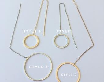 Hoop Thread Earrings, Minimal Earrings, Gold Circle Threader Earrings, Gold Hoop Chain Earrings, Thread Through Earrings | Suradesires