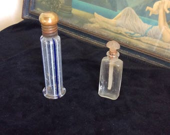 Art Deco Perfume Bottles, 2, Cobalt Stripe with Brass top, Glass with Frosted Dauber