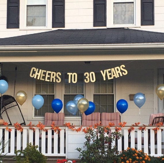 Cheers to 30 years banner 30th wedding by papersupplystation for 15 years party decoration
