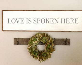 Love Is Spoken Here Sign | Farmhouse Sign | Rustic Wood Sign | Fixer Upper Sign