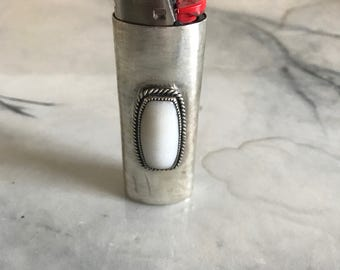 White Onyx and Sterling Silver Large Lighter Case