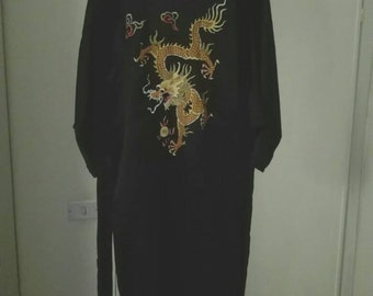 Vintage dressing gown, satin robe with embroidered dragon.